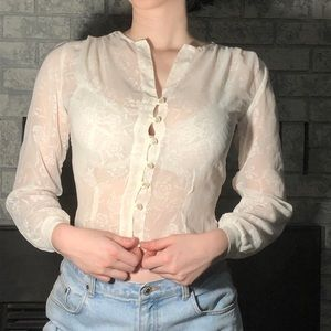 Tops - ❌SOLD❌ Vintage Sheer White Cropped Blouse